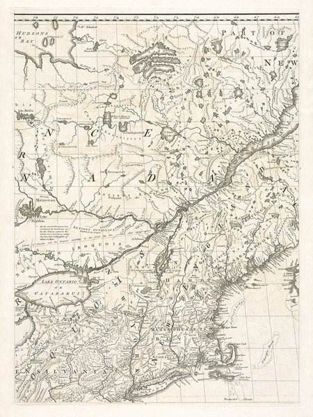 North America, 1755, Mitchell Map, 8-Sheet Large Wall Map