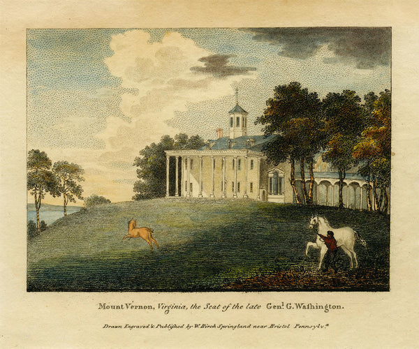 Mount Vernon, 1808, Estate View, George Washington, Color Engraving
