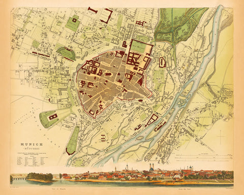 Munich, 1832, München, S.D.U.K. Antique Map