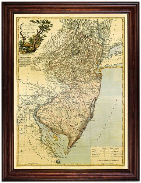 New Jersey, 1778, Bernard Ratzer, Revolutionary Era Map, Framed
