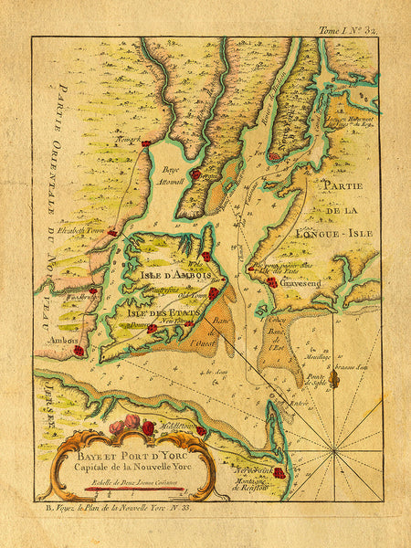 New York, 1764, French & Indian War Era, Bellin Map
