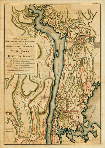 New York, 1776, Battles of White Plains, Long Island, Revolutionary War Map