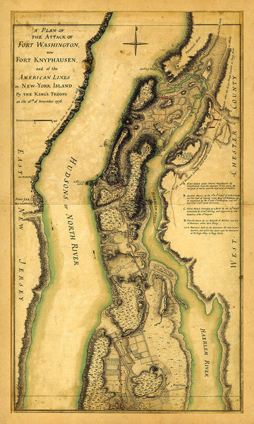New York, 1776, Fort Washington, Revolutionary War Map