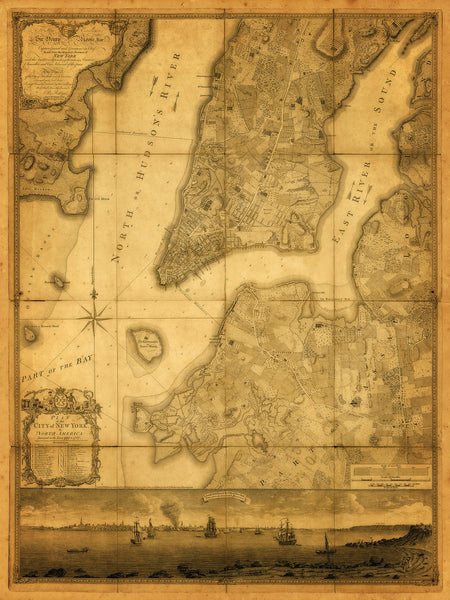 New York, 1776, Ratzer Plan (I), Antique Map, Framed