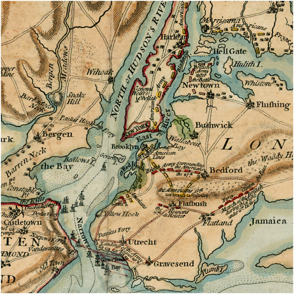 Map Of New York During American Revolution.Map Of New York 1776 Long Island Brooklyn New Jersey Staten