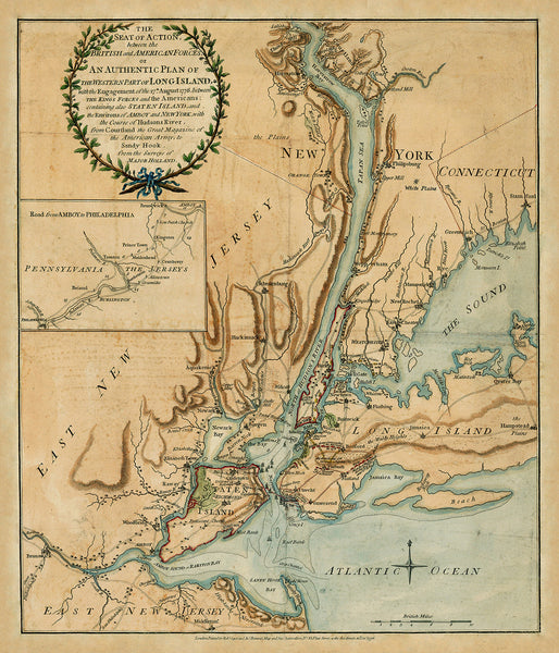 New York, 1776, Battle of Long Island, Revolutionary War Map