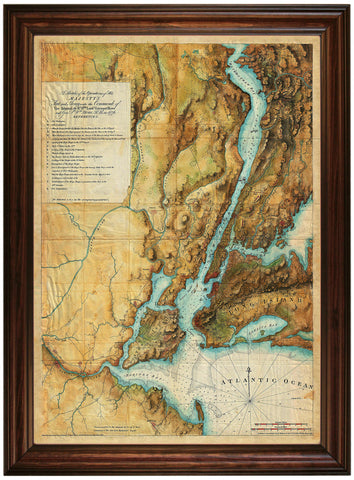 New York, 1777, British Army, Fleet, Howe, 1776-77, Des Barres, Framed Revolutionary War Map