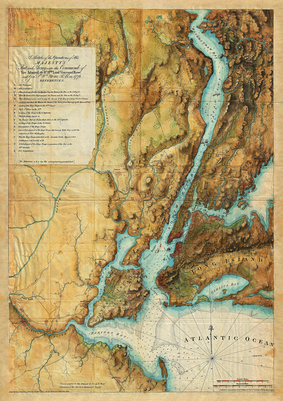 Map Of New York 1776.New York 1777 British Army Fleet 1776 77 Revolutionary War Map