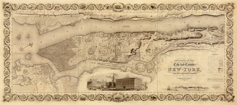 New York, 1836, Colton, Topographical Map