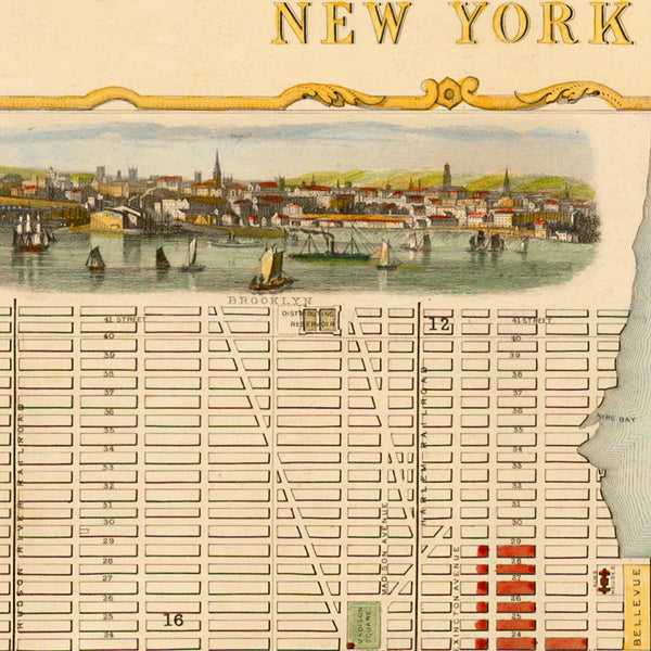 New York, 1851, Manhattan, City Plan by John Tallis, Framed