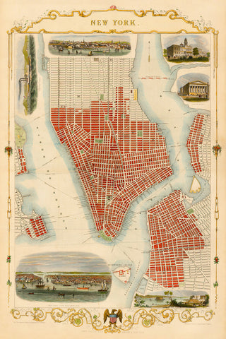New York, 1851, John Tallis, 19th-Century City Plan