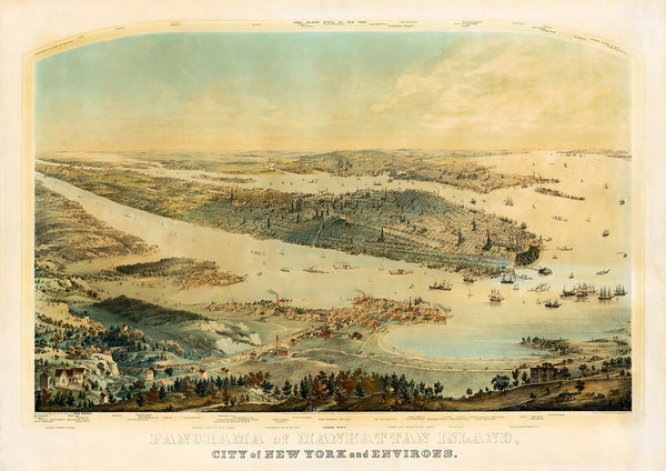 New York, 1854, Manhattan, Panoramaic View, Framed
