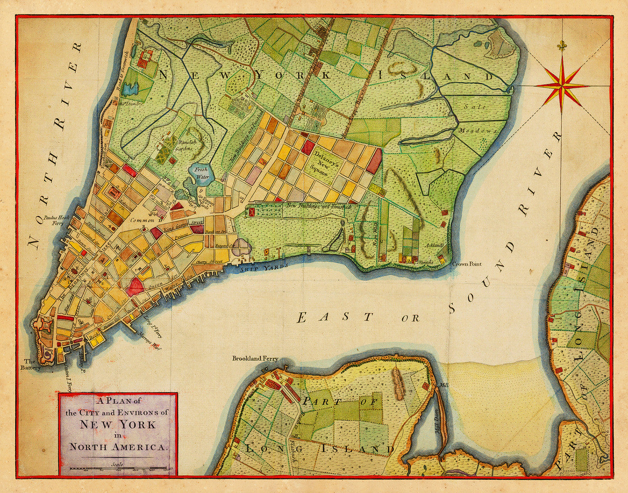 Map Of New York 1776.New York 1776 City Plan Revolutionary Era Map