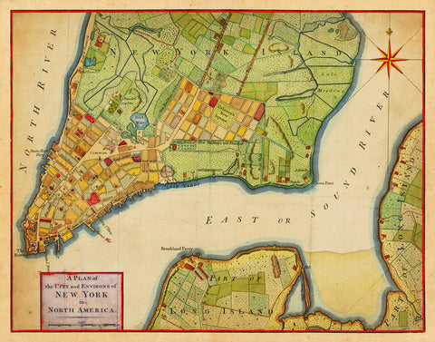 New York, 1776, City Plan, Revolutionary Era Map