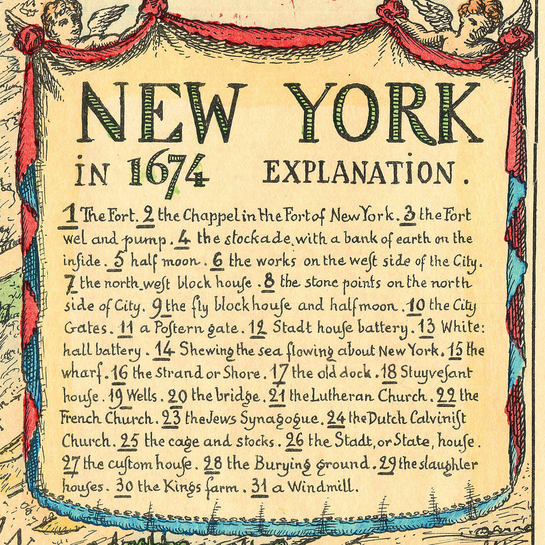 New York, 1674, Lower Manhattan, Vintage Map