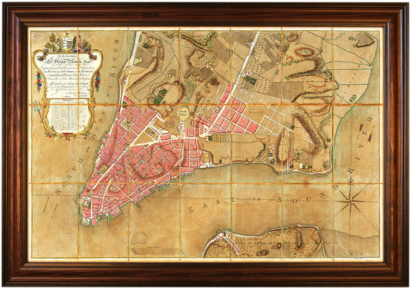 New York, 1767, Ratzer Plan, Antique Map, Framed