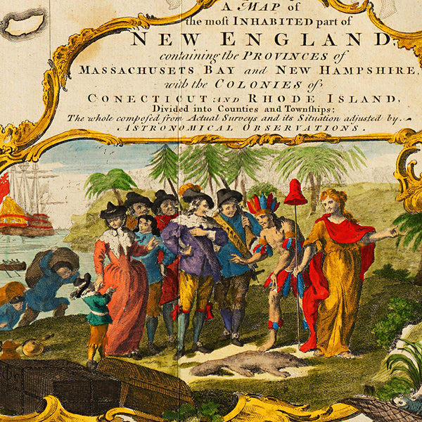 New England, 1755, Mayflower, Pilgrims, Plymouth Rock, Map