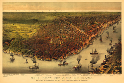 New Orleans, 1885, Bird's Eye View