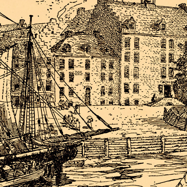 New York, 1679, City Hall & Docks, Ink Drawing, Art Print