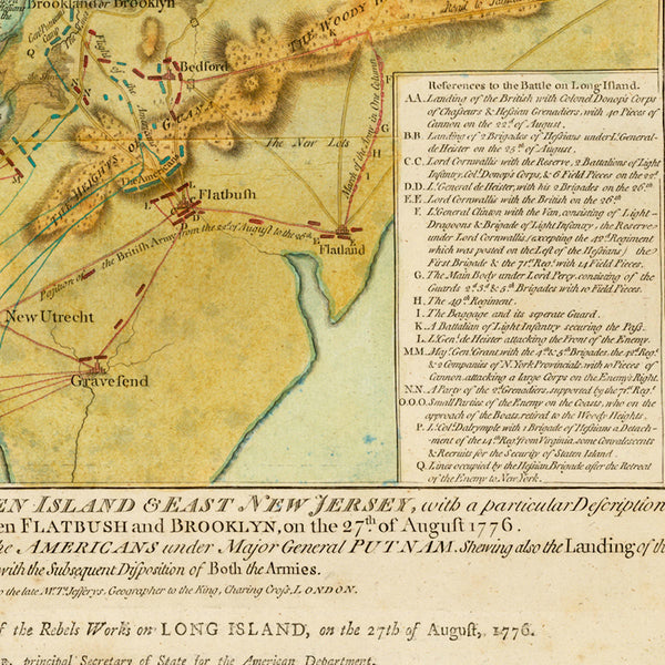 New York, 1776, Battle of Long Island, Capture of New York, Revolutionary War Map