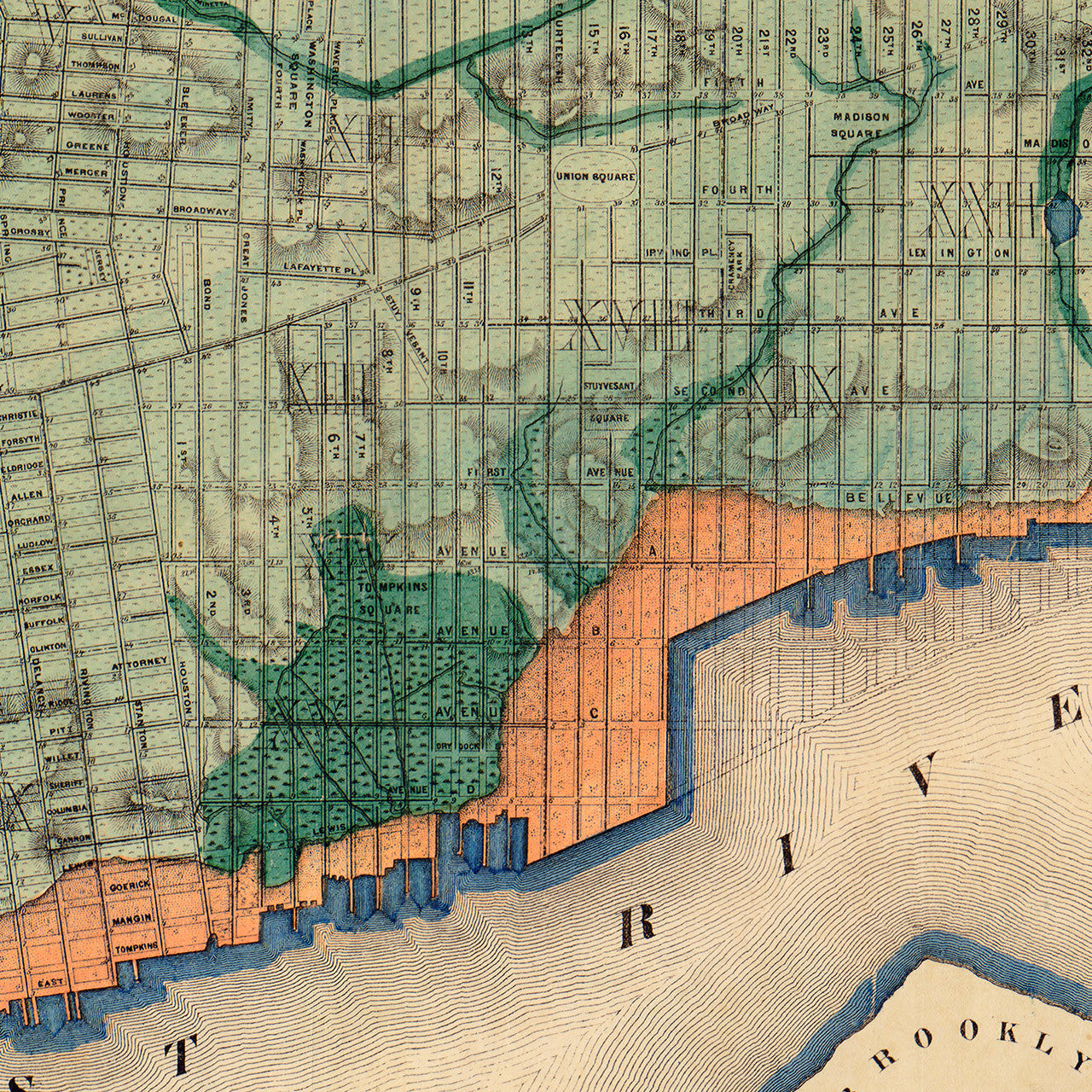 Topographical Sanitary Map of New York 1865 E Viele Battlemapsus