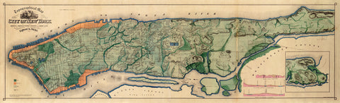 New York, 1865, Topographical, Sanitary Map, Egbert Viele (I)