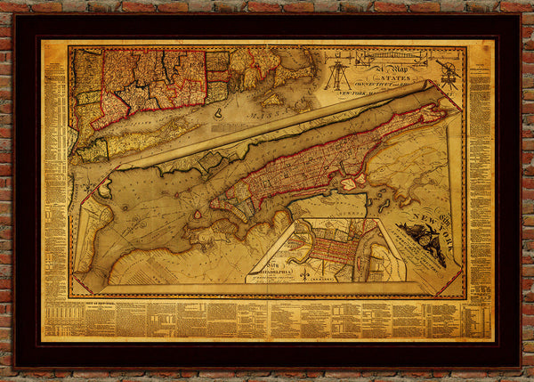 New York, 1821, Manhattan & Philadelphia, Antique Map