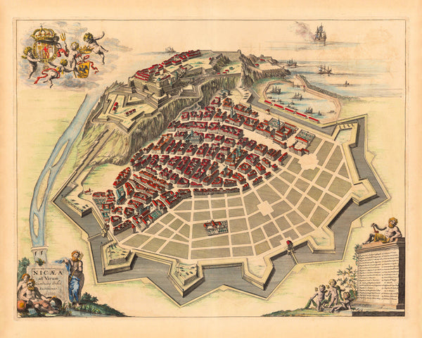 Nice, 1661, Nizza, Nicæa ad Varum, Blaeu Map