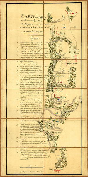 New Jersey, 1778, Battle of Monmouth, Chesnoy, Revolutionary War Map