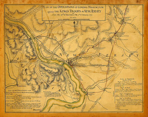 New Jersey, 1777, Battles of Trenton, Princeton, 1776-77, Revolutionary War Map (I)