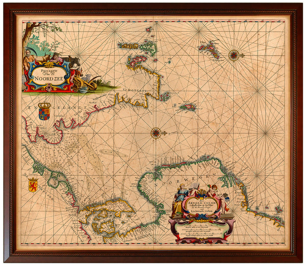 North Sea, 1655, Sea Chart, Framed
