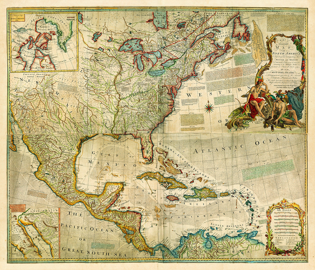 North America, 1772, Caribbean, European Claims, American Revolutionary Era  Map