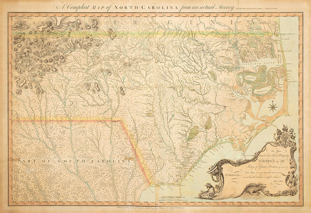North Carolina, 1770, A Compleat Map, Collet | Battlemaps.us