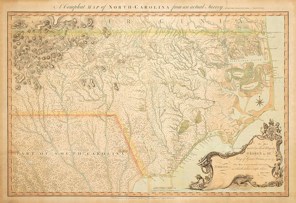 North Carolina, 1770, A Compleat Map, John Collet