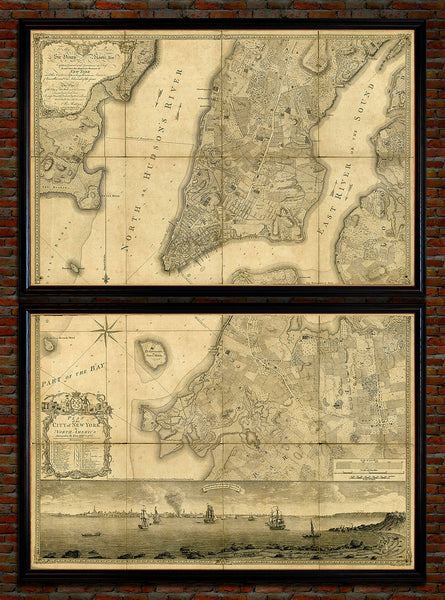 New York, 1776, Manhattan & Brooklyn, Ratzer, Framed Set