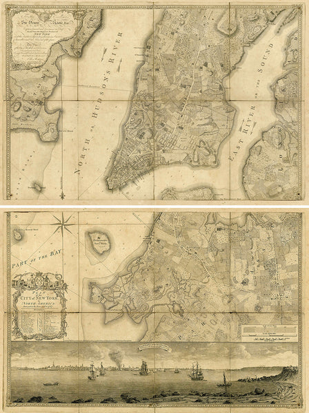 New York, 1776, Manhattan & Brooklyn Antique Map Set