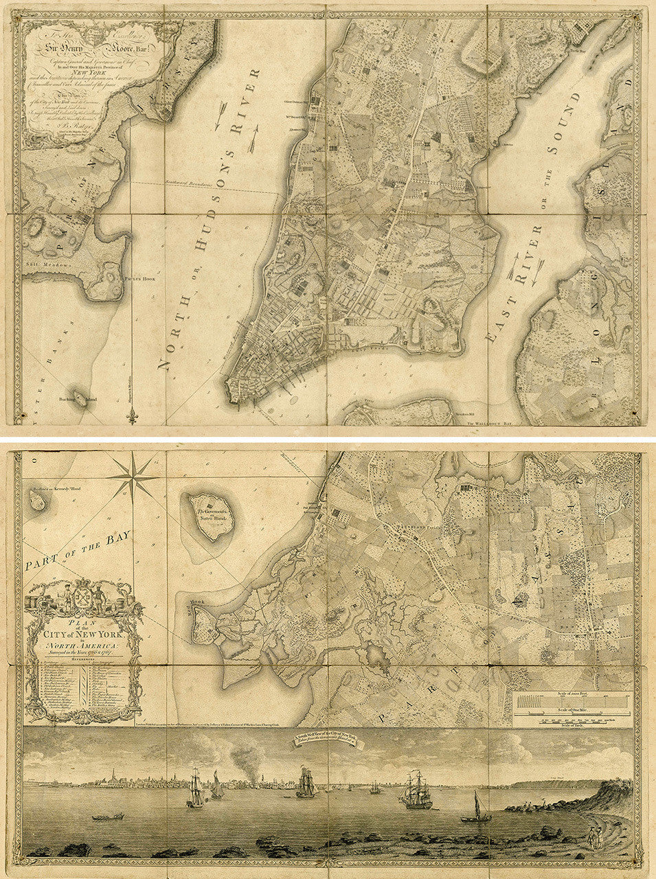 Old Map Of New York.New York 1776 Ratzer Plan Ii Brooklyn Old Map