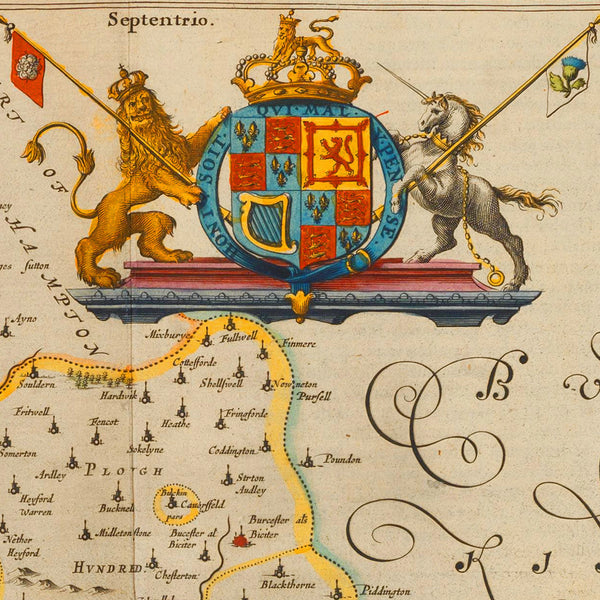 Oxford, 1645, Oxonivm Comitatus, Oxford Shire, Blaeu Map