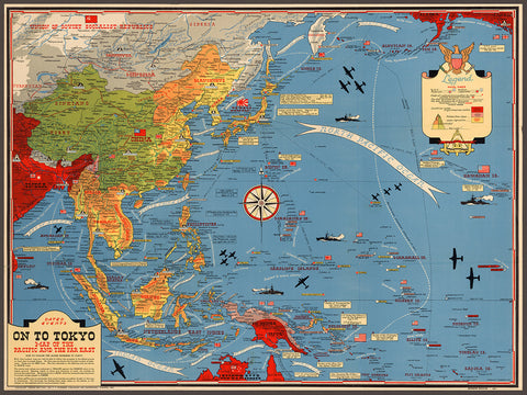 Pacific, 1944, Asian & Pacific Theater, WWII Pictorial Map