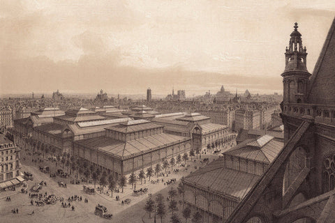 Paris, 1861, Les Halles, View from Saint Eustache, Fine Art Print