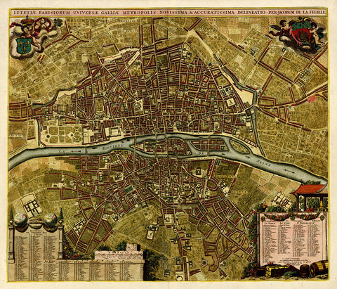 Paris, 1690, Lutetiae Parisiorum, Rochefort, La Feuille, City Plan