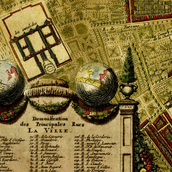 Paris, 1690, Lutetiae Parisiorum, Rochefort, La Feuille, Framed City Plan