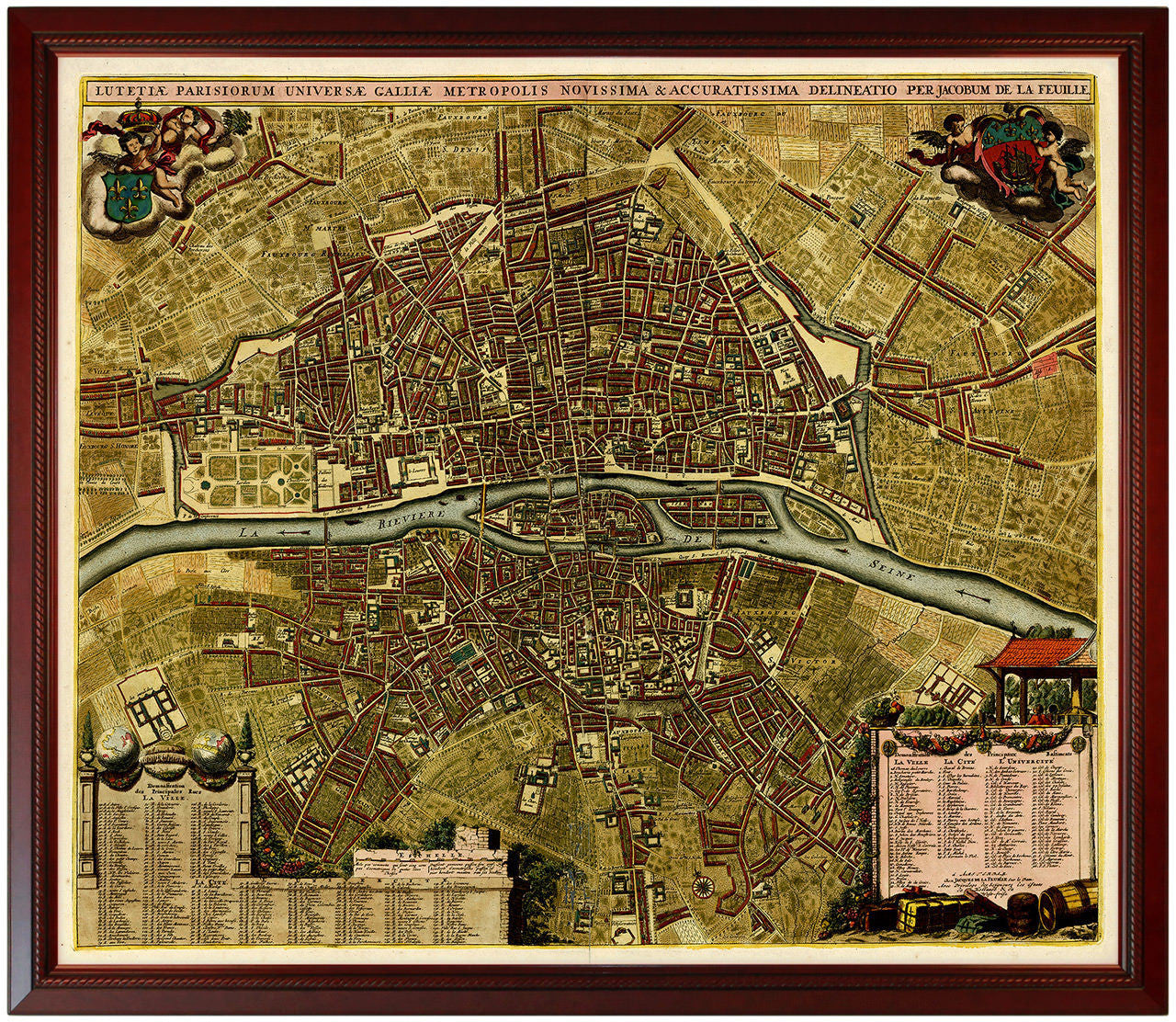 Paris 1690 Lutetiae Parisiorum Framed City Plan Battlemapsus