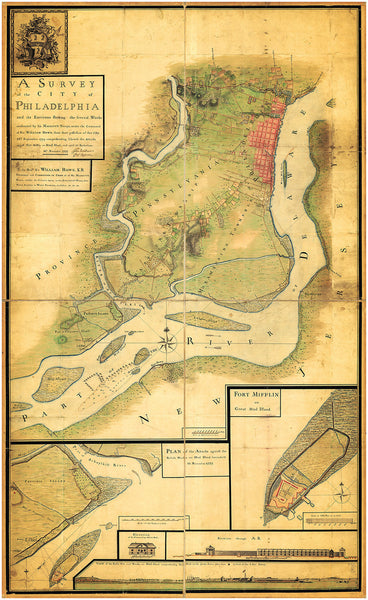 Philadelphia, 1777, Fort Mifflin, Mud Island Attacks, Delaware River, Revolutionary War Map