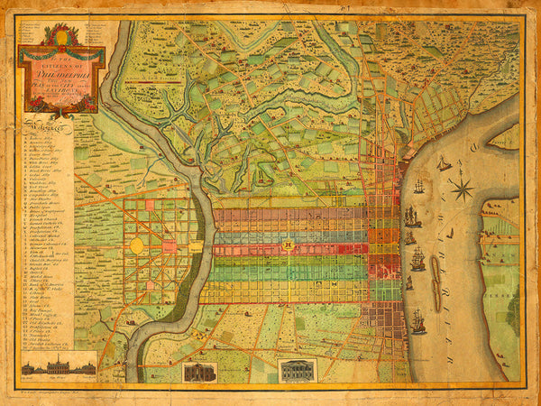 Philadelphia, 1802, Varle, Antique City Plan