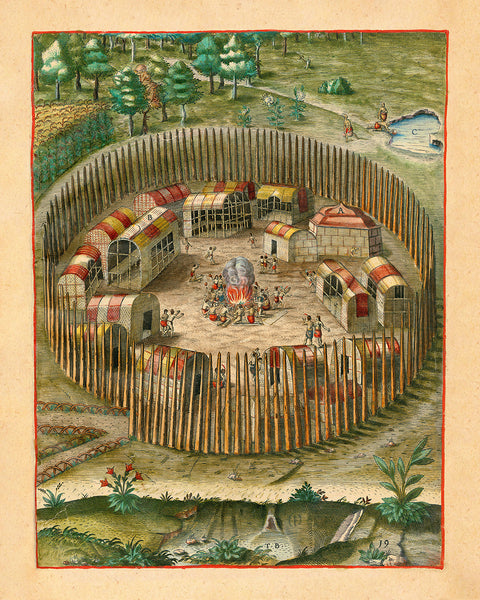 Virginia, 1590, Pomeiooc Village, John White, Thomas Hariot, De Bry, Engraving, Fine Art Print (I)