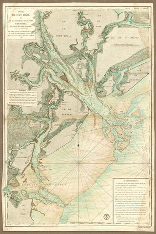 South Carolina, 1778, Port Royal, Hilton Head, Old Map
