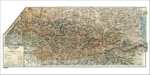 Pyrenees, 1943, France Spain Border, WWII Cloth Map
