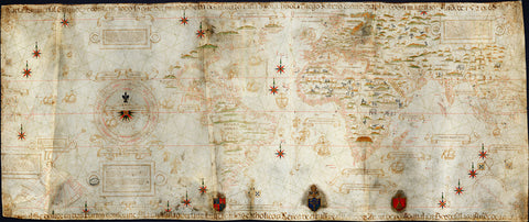 "World, 1529, Planisphere, Carta Universal, Padrón Real, Ribeiro, ""Propaganda Map"""