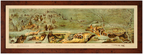 Utah, 1846-1847, Route of the Mormon Pioneers, Panoramic Pictorial Map, Framed